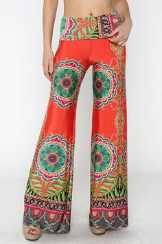 St. Tropez Deep Coral Palazzo Pants.... my fave color is all over the place. I can't get enough of it!