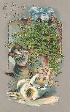 """Sweet Vintage Christmas Kittens  """"A Merry Christmas"""""""