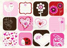 valentine elements set Royalty Free Stock Vector Art Illustration