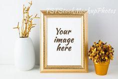 Frame mockup with golden flowerpot. Wedding Card Templates