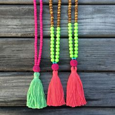 SALE-  Neon Tassel necklace - beaded necklace - Neon - Summer necklace - bohemian by AllGirlsneed on Etsy https://www.etsy.com/listing/222399744/sale-neon-tassel-necklace-beaded