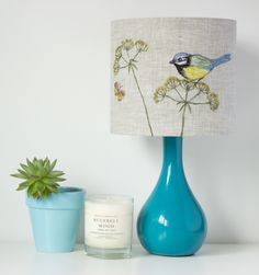 Handmade lampshade. Freehand machine embroidered lampshade | from floral & feather