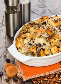 Put a twist on your usual Thanksgiving side with this savory Cornbread Stuffing with Sausage and Dried Fruit. ~ http://www.garnishwithlemon.com
