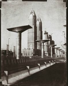 From the Dubai photo series 'Transmutations' by Martin Becka (2008) - Becka used camera equipment and techniques from the 19th century: paper negatives, a view camera from 1857, copper plates and handmade paper prints.