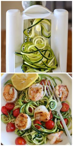 Healthy Recipe : Zucchini Noodles (Zoodles) with Lemon-Garlic Spicy Shrimp ....... Ingredients :  1 1/2 teaspoons olive oil pinch crushed red pepper flakes 4 oz peeled and deveined shrimp 2 cloves garlic, sliced thin and devided 1 medium zucchini, spiralized pinch salt and fresh black pepper 1/4 lemon 1/4 cup halved grape tomatoes ......Kur <3