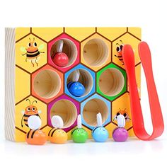 WOOD CITY Toddler Fine Motor Skill Toy,Bee to Hive Matching Game, Wooden Color Sorting Toy for Toddler 2 3 Years Old, Montessori Preschool Learning Toys Gift for Children, Wood Kids Toys, Kids Toys For Boys, Wooden Toys, Gifts For Kids, Children Toys, Preschool Learning Toys, Montessori Preschool, Educational Toys For Kids, Toddler Gifts