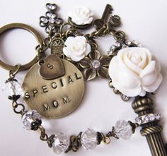 Special Mom initial keychain  purse charm  bag by romanticcrafts, $26.00