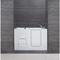 Buy the Aston White / Polished Chrome Direct. Shop for the Aston White / Polished Chrome Acrylic Walk-In Whilrpool Bathtub for Alcove Installations with Right Drain, Hand Shower and Headrest and save. Walk In Bath, Walk In Tubs, Brass Handles, Door Handles, Bathtub Alcove, Best Bathtubs, Shower Speaker, Soaker Tub, Stainless Steel Doors