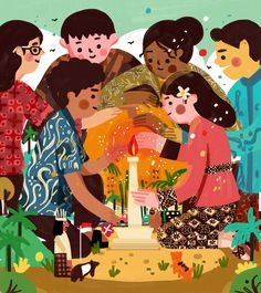 Kathrin Honesta on Behance Character Illustration, Book Illustration, Graphic Design Illustration, Digital Illustration, Indonesian Art, Indonesian Kebaya, Indonesian Wedding, Batik Art, Presentation Design Template