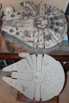 "Top: Master Replica 32"" Millennium Falcon Bottom: 28"" Hasbro 2014 BMF"