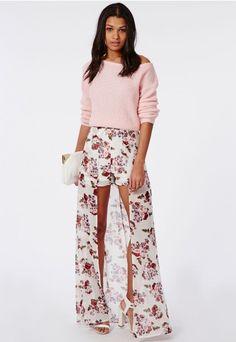 Short fleuri avec jupe longue - Robes - Jupes longues - Missguided