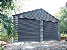 Double Garage with Horizontally Cladding  7m x 7m x 3m  Genuine @colorbondsteel with 'Basalt' walls, 'Woodland Grey' doors & 'Night Sky' trim #fairdinkumsheds #shedsafe #stramit #colorbondsteel  Ph 1800 10 11 12 www.fairdinkumsheds.com.au/fbenquiry