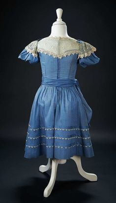 """Lace Yoke Blue Dress with Pinafore Worn by Shirley Temple in 1937 Film """"Wee Willie Winkie $10,000+"""