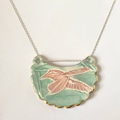 Pink and turquoise Hummingbird embossed pendant with 18 carat gold edge on a sterling silver chain. One-of a kind. Ceramic Studio, Porcelain Jewelry, Carat Gold, Hummingbird, Sterling Silver Chains, Turquoise Necklace, Pendants, Pendant Necklace, Ceramics
