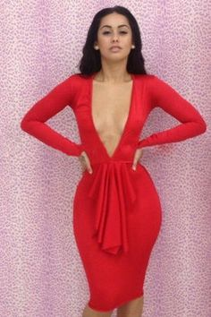 Paint Me Red Long Sleeve Ruffle Dress- perfect if this was the back Deep V de570b1c6