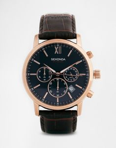 Sekonda+Watch+With+Leather+Strap+3406