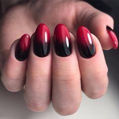 black red nails, manicure, градиент, омбре на ногтях маникюр, гель-лак, шеллак, миндалевидные ногти