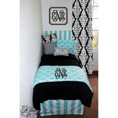 Tiffany & Black Quatrefoil Custom Designer Teen Girl & Dorm Room Bedding Set. Designer headboard, custom pillows, exclusive bed scarf, window panels, wall art, bed skirts, twin/queen/king duvet and custom monogramming!! Perfect for college, apartment, or teen bedding!! http://www.decor-2-ur-door.com/designer-dorm-bed-in-a-bag-sets/black-custom-bedding-sets-teen-girl-dorm-room-apartment-home-bed-in-a-bag/tiffany-blue-quatrefoil-custom-teen-girl-dorm-room-apartment-home-bedding-set…