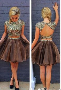 Two pieces Short Homecoming Dress,Stylish 2 Piece Jewel Cap Sleeves Short Chocolate Homecoming Dress with Beading Open Back