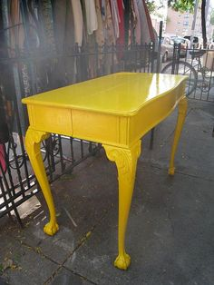 Yellow desk, but maybe in blue or gray to please the Hubby!!