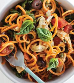 This is one of those go-to meals that has it all: fun shapes, pretty colors, nutrients from multiple food groups and the convenience of cooking in one pan. Sweet Potato Recipes, Veggie Recipes, Paleo Recipes, Starch Free Recipe, Swiss Chard Recipes, Veggie Noodles, Spiralizer Recipes, Diet Snacks, Overnight Oats