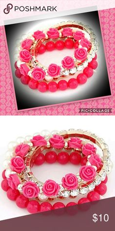 Beautiful Rose Pink Beaded Bracelet Brand new, Bohemia Stretch Pink Flower Multilayered Charm Bracelet. Condition: 100% brand new Material: Beads Fashion Jewelry Bracelet Jewelry Bracelets