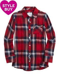 Embellished Pocket Plaid Button Up Shirt