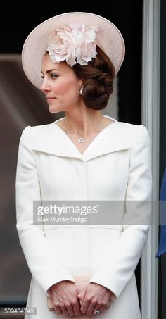 Catherine, Duchess of Cambridge stands on the balcony of Buckingham Palace during Trooping the Colour, this year marking the Queen's 90th birthday on June 11, 2016 in London, England. The ceremony is...