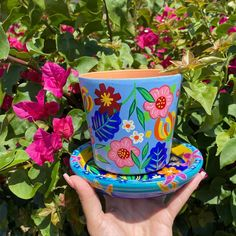 Painted Pottery, Pottery Painting, Painting Pots, Bucket Gardening, Wooden Pipe, Painted Flower Pots, Art Camp, Clay Pots, Handmade Crafts