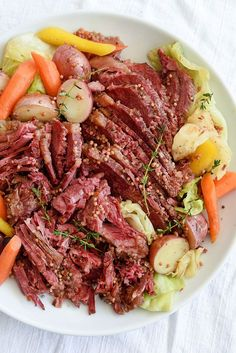 Slow Cooker Corned Beef and Cabbage on http://foodiecrush.com