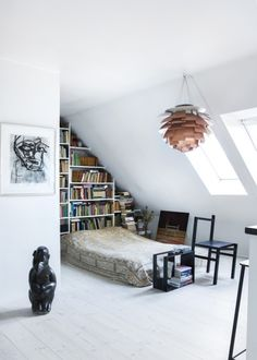 An artichoke lamp in a white-washed bedroom. Attic Bedroom Designs, Lighting Manufacturers, Dream Apartment, Design Within Reach, Small Dining, Lighting Design, Ikea, Sweet Home, Ceiling Lights