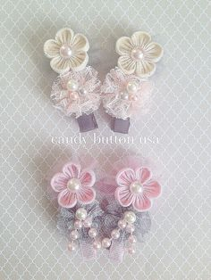 Pink Grey Hairclip * Baby Girl Hairclip * Newborn Hairclip * Newborn Headband * Flower Hairclip * Tulle Hairclip * Baby Headband * Lace Clip