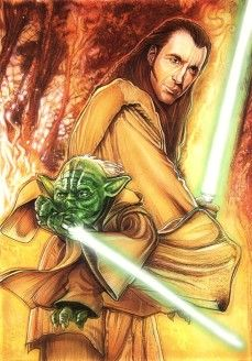 Dooku as a Jedi Knight with his former Master, Yoda.