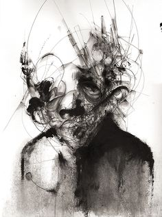 Eric Lacombe. P083. Acrylic, pen, paper, 48 x 36 cm.