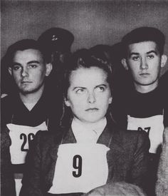 Irma Grese, the Mass Murderess of Bergen-Belsen, during the Belsen Trial. According to inmate testimony, Grese was fond of whipping inmates and was said to never have been without her boots, whip, or pistol at anytime. Fond of physical and emotional torture, and was said to have delighted in shooting prisoners in cold blood. Her trial took 53 days, and when the verdict was read she was found guilty. Irma Grese was executed on 13 December 1946 at 22 years of age.
