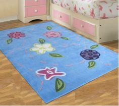 Leaf And Flower Blue Childrens Rug 165x115cm Main Product Photo Rugs Kids Area