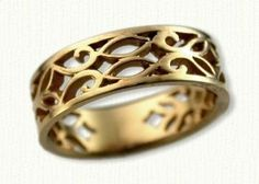 14kt Yellow Gold Pierced Elmvale Leaf Inspired Wedding Band