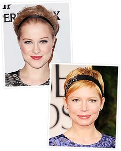 If your hair is short, the right headband is an easy way to make it glamorous. Choose one that's slim and lies flat against the head, like #MichelleWilliams and #EvanRachelWood. http://www.instyle.com/instyle/package/general/photos/0,,20574105_20576460_21130258,00.html