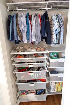 The NEAT Method recently managed the boys' closet makeover and it's so good! Don't miss these organization tips and images for inspo! Toddler Closet Organization, Kids Bedroom Organization, Closet Storage, Clothing Organization, Clothing Racks, Clothing Storage, Kitchen Organization, Boys Closet, Small Closets