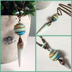 Aegean Relic Necklace by The Blue Starfish handmade using lampwork glass beads, glazed ceramic spike and antique brass chain