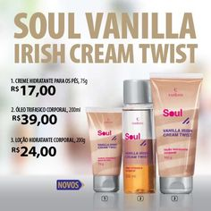 A nova linha Soul Vanilla Irish Cream Twist combina a cremosidade do licor, o doce da baunilha e uma pitada de café.  Além de deixar seu inverno quente e cool, a linha composta por Hidratante Corporal, Creme para Pés e Óleo Trifásico, promove hidratação máxima.