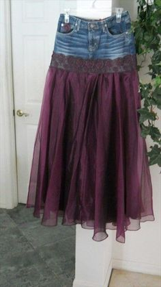 DIY Fashion Ideas for Teens Chloé jean skirt.---forget cut off shorts, way to upcycle torn jeans! Wouldn't this be a fun prom dress idea just layer with lots of toule--Chloé jean skirt.---forget cut off shorts, way to upcycle torn jeans! ---forget cut o Purple Satin, Satin Tulle, Dark Purple, Diy Clothing, Sewing Clothes, Clothes Refashion, Jeans Refashion, Sewing Jeans, Handmade Skirts
