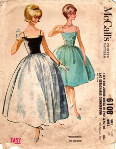 Vintage Sewing Pattern McCalls 6108: Teen Dress in Two Lengths and Detachable Cummerbund    Description: Camisole top dress with four-gore gathered