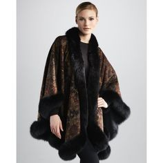 Sofia Cashmere Fox Fur-Trimmed Floral-Print Cape ($1,995) ❤ liked on Polyvore