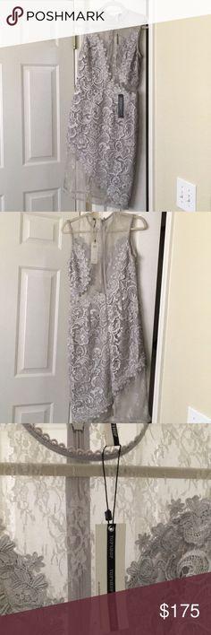 Brand new - TOPSHOP Midi grey dress Never worn dress, see thru grey with lace Topshop Dresses Midi