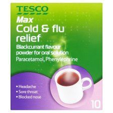 Tesco Max Strength Blackcurrant Cold And Flu 10S