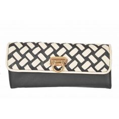 Kardashian Kollection Weave Turnlock Wallet - Black/Beige - Women's Kardashian Kollection, Continental Wallet, Weave, Zip Around Wallet, Shoulder Bag, Bags, Accessories, Handbags, Totes