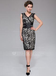 Sheath/Column V-neck Knee-Length Charmeuse Lace Cocktail Dress (007037276)