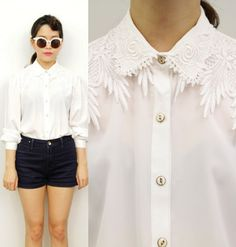 Vintage White Floral Lace Embroidered Collar Victorian Shirt Blouse Top 10 Retro