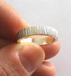 Women's Wedding Band Ring, Sterling Silver, Ridged, Modern, Contemporary, Minimalist, Simple - Grosgrain Ring
